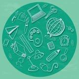 Doodle назад к школе в зеленом цвете Стоковые Фотографии RF