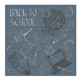 Doodle назад к школе в сини Стоковые Фото