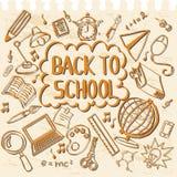 Doodle назад к школе в тетради Стоковое Изображение