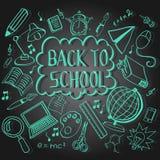 Doodle назад к школе в черноте Стоковые Изображения