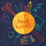 Doodle назад к школе с цветами Стоковая Фотография RF