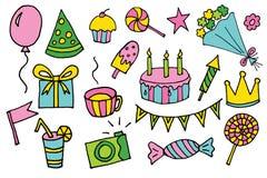 doodle нарисованные рукой элементы дня рождения шаржа вектора с подарочной коробкой, леденцом на палочке, тортом и пирожным, цвет стоковые фотографии rf
