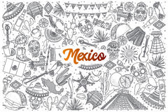 Doodle нарисованный рукой мексиканський установленный с литерностью Стоковые Фото