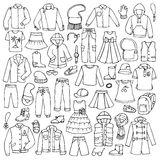 Doodle нарисованный рукой установленный с ребяческими одеждами Стоковые Фотографии RF
