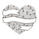 Doodle нарисованный рукой шаблон карточки конспекта валентинки влюбленности иллюстрация вектора