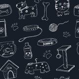 Doodle нарисованный рукой Pets картина значков вещества и поставки безшовная также вектор иллюстрации притяжки corel Собрание сим Стоковые Изображения RF