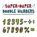 Doodle номера вектора и и математически символы с смешным 3d Стоковые Изображения RF