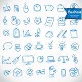 doodle офис, установленные значки, вектор дела иллюстрация штока
