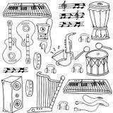 Doodle пакета музыки притяжки руки Стоковое Изображение