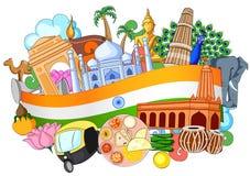 Doodle показывая архитектуру и культуру Индии иллюстрация вектора