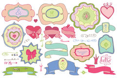 Doodle покрасил ярлыки, значки, элемент оформления Любовь Стоковое Изображение RF
