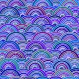 Doodle развевает безшовная картина Стилизованное море или океанские волны Стоковое Фото