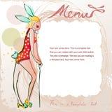 Doodle рамка с милой девушкой в костюме зайчика бесплатная иллюстрация