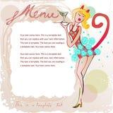 Doodle рамка с милым barmaid в костюме кота иллюстрация штока