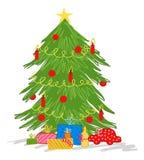 Doodle рождественской елки, красочный чертеж вектора, украшенное дерево с красными свечами, безделушками рождества и настоящими м иллюстрация вектора