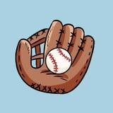 Doodle руки вычерченный перчатки бейсбола держа шарик Чертеж стиля мультфильма, для плакатов, украшения и печати r бесплатная иллюстрация