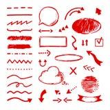 Doodle самого интересного Отборные значки отметки стрелки Рамки круга чертежа выбора и указателя scribble подчеркивания иллюстрация вектора