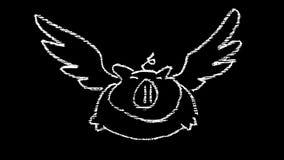 Doodle свиньи летания на классн классном на небе с облаками иллюстрация вектора