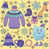 Doodle сезона зимы установил - снежинки, дерево колоколов добычи звезда, swe бесплатная иллюстрация