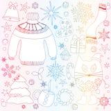 Doodle сезона зимы установил - снежинки, дерево колоколов добычи звезда, swe иллюстрация вектора