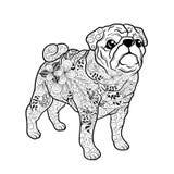 Doodle собаки мопса иллюстрация вектора
