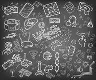 Doodle собрание вектора виртуальной реальности и новаторского techn Стоковые Изображения RF