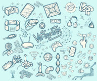 Doodle собрание вектора виртуальной реальности и новаторского techn Стоковая Фотография RF