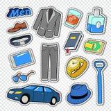 Doodle стиля моды бизнесмена Мужские стикеры, значки и заплаты с одеждой и аксессуарами иллюстрация штока