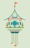 Doodle стиля часов с кукушкой плоский Стоковая Фотография