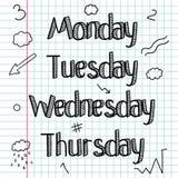 Doodle схематичный Комплект знаков, слов, дней недели чертеж вручает ее нижнее белье утра вверх по теплым детенышам женщины штанг Стоковые Изображения RF