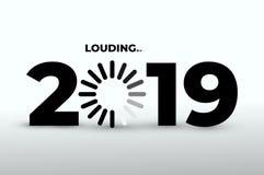 Doodle с загрузкой 2019 Экран загрузки Нового Года Бар прогресса почти достигая канун Новых Годов также вектор иллюстрации притяж иллюстрация вектора