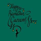 Doodle текст счастливый Рамазан Kareem каллиграфии и мальчик читая священную книгу, арабский исламский святой месяц мусульман Стоковое фото RF