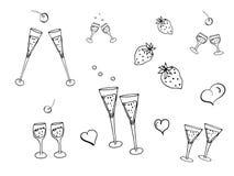 Doodle установил для дизайна и украшения торжеств и событий, партий, приглашений, открыток, стикеров, логотипов иллюстрация штока