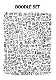 Doodle установленный с милыми животными и вещами бесплатная иллюстрация