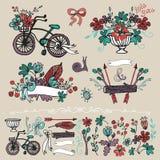Doodle флористическая группа, комплект элемента эскиза руки Стоковые Фотографии RF