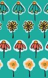 Doodle цветет безшовная картина на предпосылке teal Улучшите для рынка детей Милый простой дизайн Ткань, бумага, обои, иллюстрация вектора