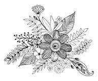 Doodle цветка Hydrengea рисуя freehand, крася страница с doodle иллюстрация вектора