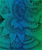 Doodle чертеж на предпосылке градиента зеленой и голубой Стоковые Фото