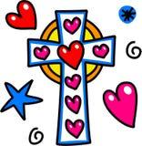 Doodle шаржа креста пасхи иллюстрация штока