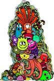 Doodle шаржа нарисованный вручную Стоковая Фотография