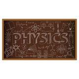 Doodle школьного правления с символами физики вектор Стоковое Изображение RF
