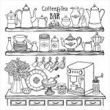 Doodle эскиз баков, чашек, машины кофе в кухонном шкафе Стоковое фото RF