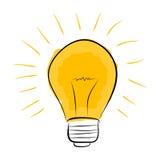 Doodle электрической лампочки вектора нарисованный рукой Стоковые Фото