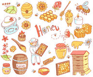 Doodle элемента меда вектора установил с ульем, beekeeper, цветками Стоковые Изображения RF