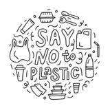 Στρογγυλή έννοια doodle οικολογίας ελεύθερη απεικόνιση δικαιώματος