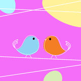 Doodle. Tweet doodle birds on a wire, love card Stock Photo