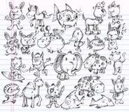 вектор эскиза животного doodle конструкции установленный Стоковые Изображения
