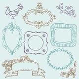 Γλυκά πλαίσια Doodle με τα πουλιά και τα στοιχεία λουλουδιών Στοκ Εικόνες