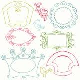 Γλυκά πλαίσια Doodle με τα πουλιά και τα στοιχεία λουλουδιών Στοκ εικόνα με δικαίωμα ελεύθερης χρήσης