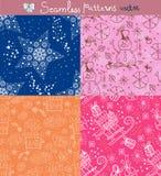Άνευ ραφής σύνολο ανασκόπησης doodle Στοκ φωτογραφίες με δικαίωμα ελεύθερης χρήσης